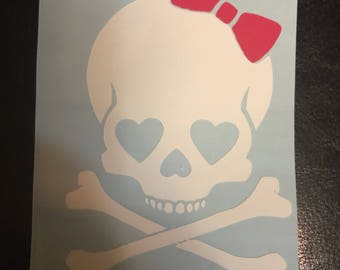 Girly Skull with Bow Decal