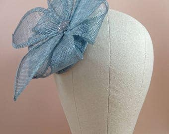 Blue fascinator hat, wedding headpiece, fascinator headband, occasion headpiece, duck egg blue, hair fascinator, custom orders welcome