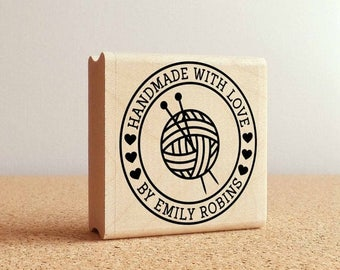 BACK TO SCHOOL Sale Personalized Knitting Rubber Stamp, Handmade with Love Knitting Stamp