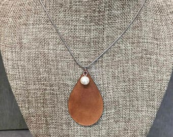 Leather Teardrop Glass Pearl Necklace, Laser Engraved, Customized Jewelry, Bursting Barns Laser Engraving