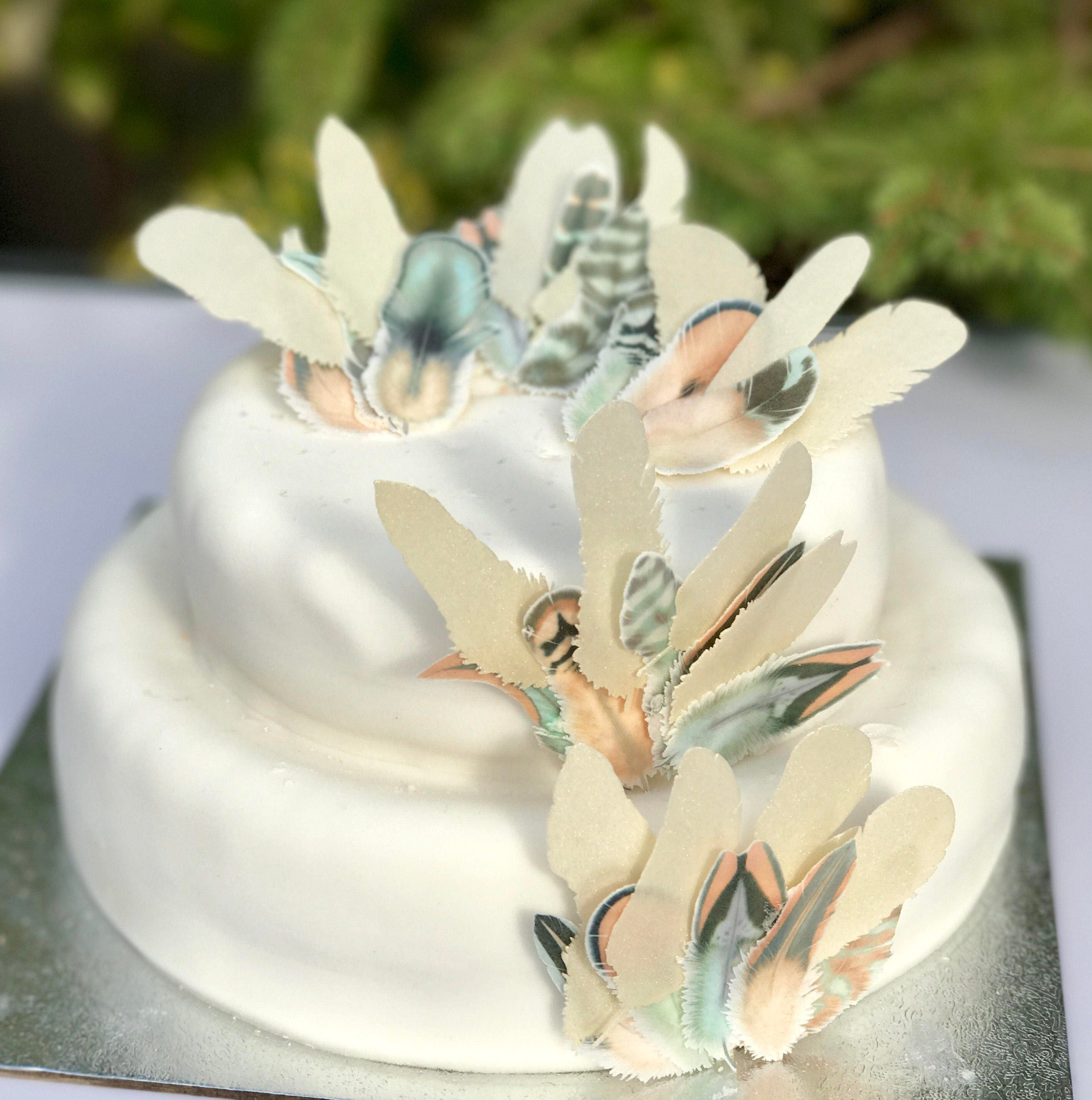 Edible Feathers Golden Boho Wedding Cake Decoration Wafer Paper ...