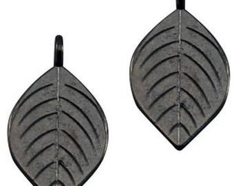 "DQ Metal Pendant ""sheet""-2 pieces-Silver grey, Zamak"