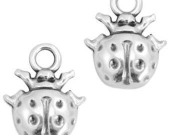 DQ metal trailer ladybug, charm - 2 STK. - 17 x 13 - Zamac - selectable color (color - silver)