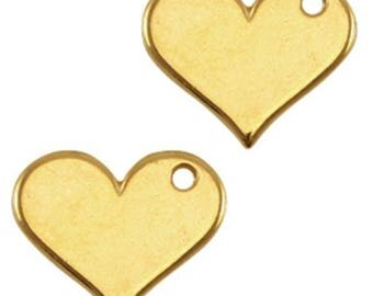 """DQ Metal Pendant """"Herz""""-1 piece-18 x 15 mm-Zamak, gold plated or silver-European designer quality-color selectable (color: Gold)"""