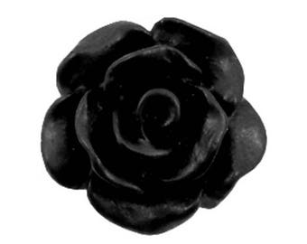 Rose beads, acrylic beads, plastic beads-matt-10 pcs.-Color selectable (color: black)