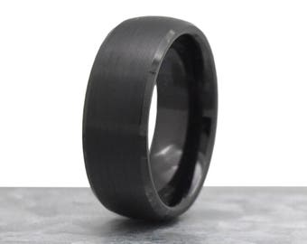 marriage mens wedding band mens wedding ring male wedding band black brushed tungsten - Black Male Wedding Rings