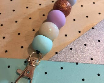 Pastel, Opal and Copper Clay Lanyard