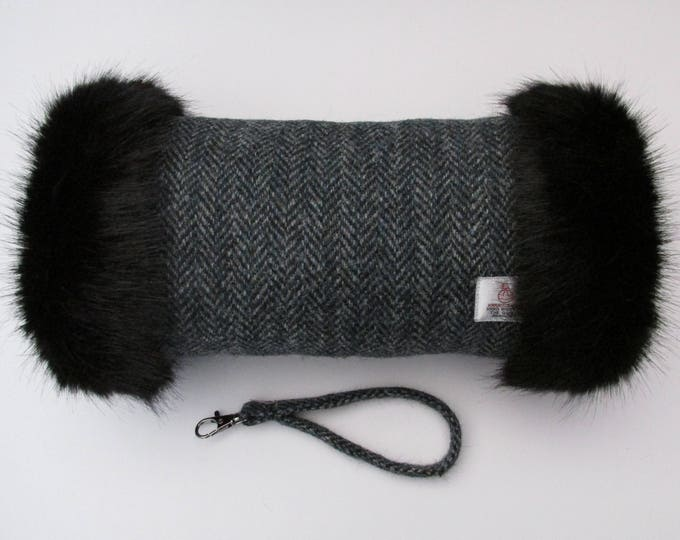 Harris Tweed Grey & Sea Green Herringbone Hand Muff with Black Faux Fur Trim