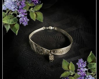 Handmade OOAK silver spoons dice bracelet with a magnet clasp