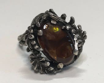 Vintage Mexican Fire Agate Sterling Silver Ring Sz 5