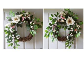 NEW Double Door Wreaths, Magnolia Spring Summer Wreaths for Front Door, Front Door Wreaths, Home Decor,Hobby4Crafts
