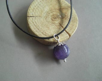 Amethyst and silver Sterling pendant leather Choker necklace