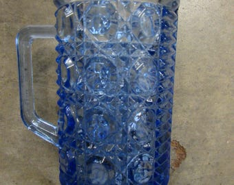 Blue Buttons and Ribbed Glass Small Pitcher