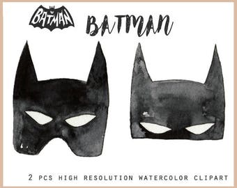 Batman clipart set. Ideal as digital illustration element to enhance your logo, party invite or stationary. Personalize with your own text!