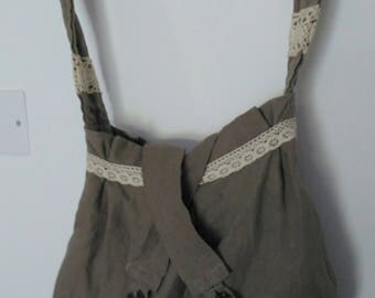 Messenger bag linen and lace