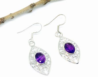 Amethyst earrings set in Sterling silver (92.5). Genuine natural faceted amethyst stones. Perfectly matched