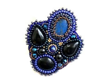 Lapis lazuli brooch Black blue brooch Black agate brooch Beadwork brooch pin Embroidered brooch Hand embroidery brooch Girlfriend gift ideas