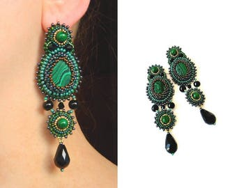 Green black earrings Bead embroidered earrings Green jewelry Beadwork long earrings dangle Cabochon earrings Beaded embroidery earrings
