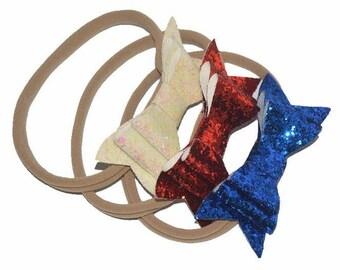 2pcs/lot 13'' inch Headbands Fashion Girl/Children's Bling Hair Headbands, Glitter Bow knot Hair Headbands -- YTC13