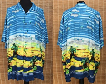 Hawaiian Shirt......Men's 4XL Palm Tree Print Hawaiian Shirt