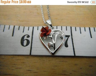 CLEARANCE Silver Heart and Red Rose Pendent with 18 inch Chain!  Silver Plate/Tone  {B}