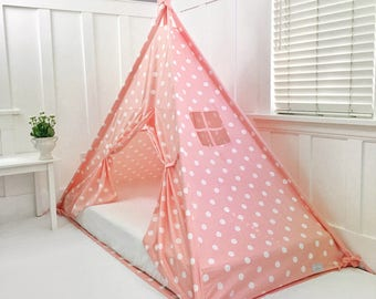 Play Tent Canopy Bed in Peachy Pink Polka Dot Cotton & Play Tent Canopy Bed in Natural Canvas