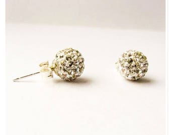 8mm Shamballa style stud ear-rings Sterling silver posts