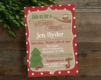 Woodland Theme Shower Invite, Baby Shower Invitation, Woodland Owl Baby Shower Invite, Woodland Shower Invite