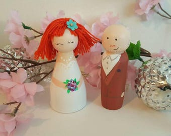 Wedding cake topper Bride and groom cake topper Wedding decor Cake decor Wood cake topper Wedding cake couple figures topper He she topper
