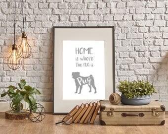 Super Cute PUG Dog Print Art Poster Sign to Frame