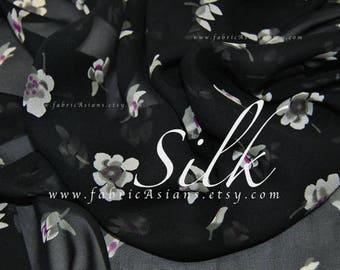 Tana Lawn Black Silk georgette by meter
