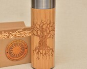 Original Bamboo Thermos Wooden Flask 380 ml Engraved Wood TREE OF KNOWLEDGE Stainless Steel with Screw Lid