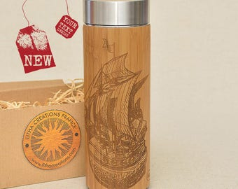 Customized Thermos Engraved Bamboo Wood SAILING SHIP Stainless Steel with Screw Lid