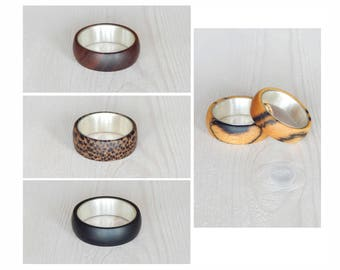 Wooden silver ring, ring to order, size 5 3/4 - 12.