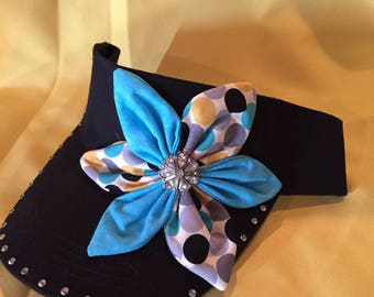 Black visor with turquoise flower