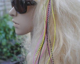 Feather Hair Accessory like hair-extensions grizzly whiting feathers long feather hair clip festival rainbow colours multicoloured feathers