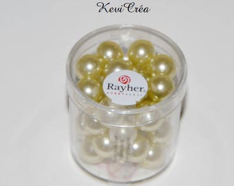 1 x box beads 10mm polished glass - RAYHER - lime green