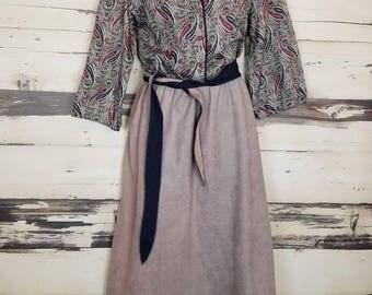 Vintage 1980s IFI Paisley 3/4 Sleeves Peasant Secretary Prairie Dress