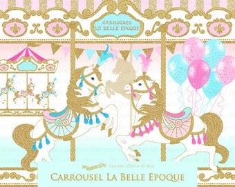 Carousel / Gold Glitter Carousel / Carrousel La Belle Epoque Clip Art - Instant Download - CA155