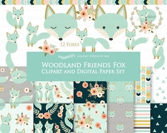 30% off Mint Fox / Woodland Friends / Fox Clip Art + Digital Paper Set - Instant Download