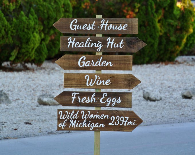 Rustic Direction Arrow Signs, Wooden Guest House/Hotel decor, Garden/Beach sign post, Unique gift idea
