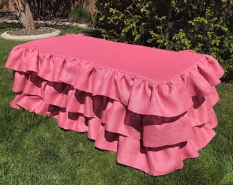 Burlap Ruffled Tablecloth Pink Ruffle Tablecloth Country Wedding Bridal Shower Decor Rustic Shabby Chic Vintage