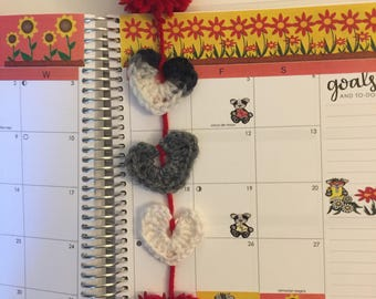 Crocheted heart bookmark, for planners or any type of book. FREE SHIPPING