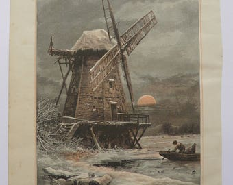The Old Hampton Windmill River Thames by T Rowbotham Antique Print Engraving 1884
