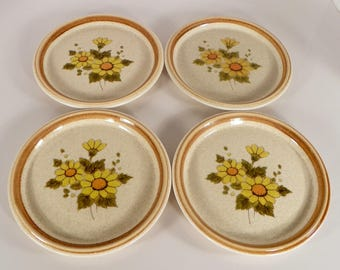 Mikasa Melissa Salad Plate (s) LOT OF 4 Stone Manor F5811 Yellow Flowers Floral