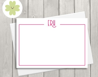 Personalised note card, personalised thank you note cards, personalised stationery set, personalised stationary set (x 24)