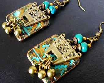 Native American tribal ethnic earrings, chrysocollas, polymer clay on metal bronze