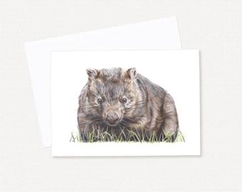 Wombat Greeting Card - Australian Wildlife Greeting Card - Blank Gift Card - Wombat Art