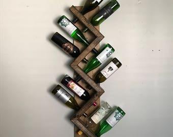 Zig Zag Wine Rack, Z Geometric Rustic Wood Wine Bottle Display Chunky Primitive