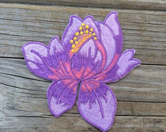 Purple Flower Patch, Vintage Embroidered Patch, Lotus Patch, Patch, Applique Iron On Patch